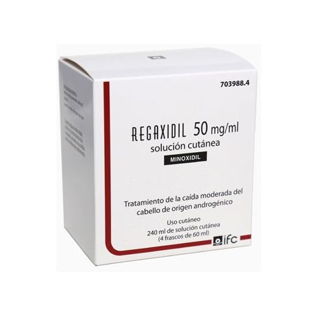 REGAXIDIL 50 MG/ML SOLUCION CUTANEA 4 FRASCOS 60 ML