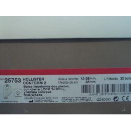 BOLSAS ILEOST SIST DOBLE PLAC CONFORM ABIERTA CONVEXA MIDI OPACA ARO 55MM 13-38MM 30+10 U